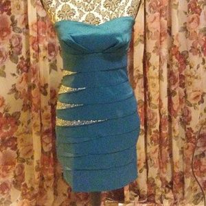 turquoise strapless party dress